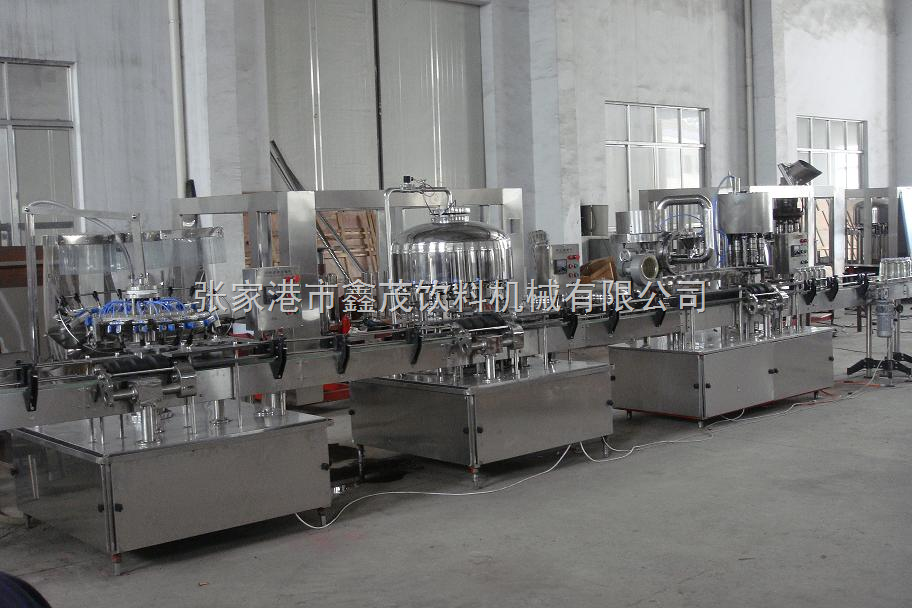 冲洗灌装封盖直线生产线-玻璃瓶三、四旋盖生产线